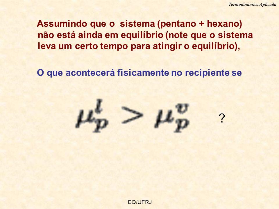 Assumindo que o sistema (pentano + hexano) não está ainda em equilíbrio (note que o sistema leva um certo tempo para atingir o equilíbrio),
