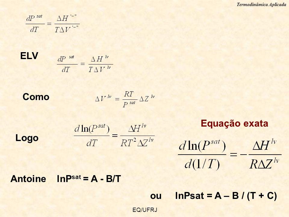 ELV Como Equação exata Logo Antoine lnPsat = A - B/T