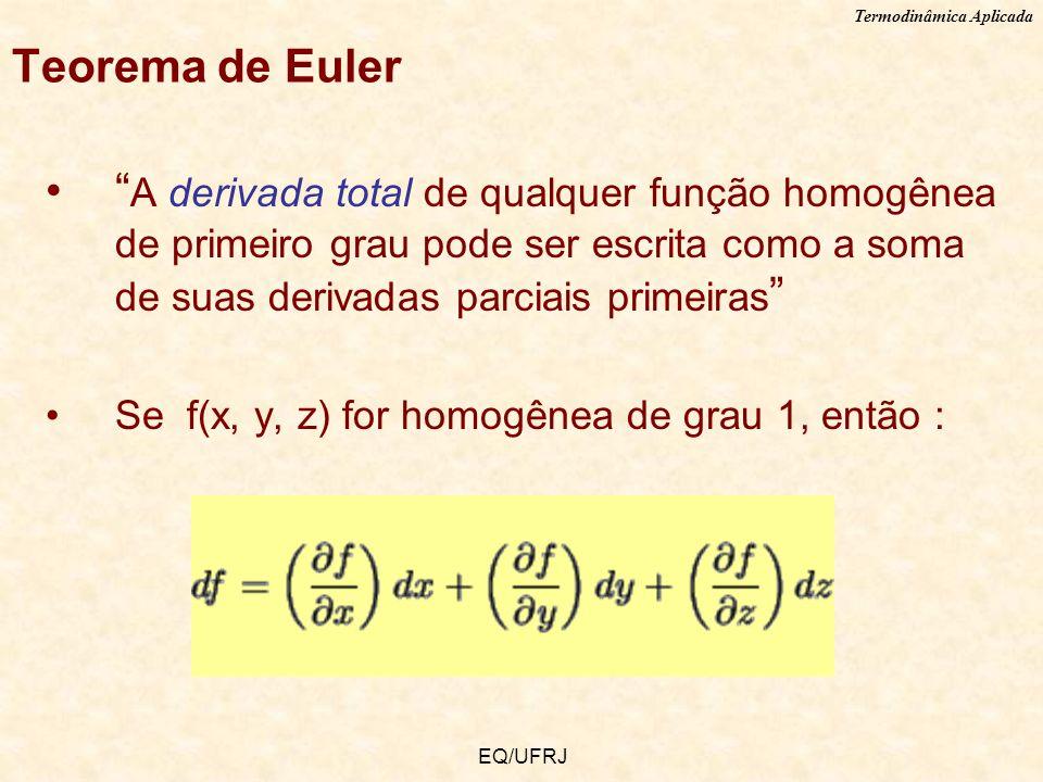 Teorema de Euler A derivada total de qualquer função homogênea de primeiro grau pode ser escrita como a soma de suas derivadas parciais primeiras