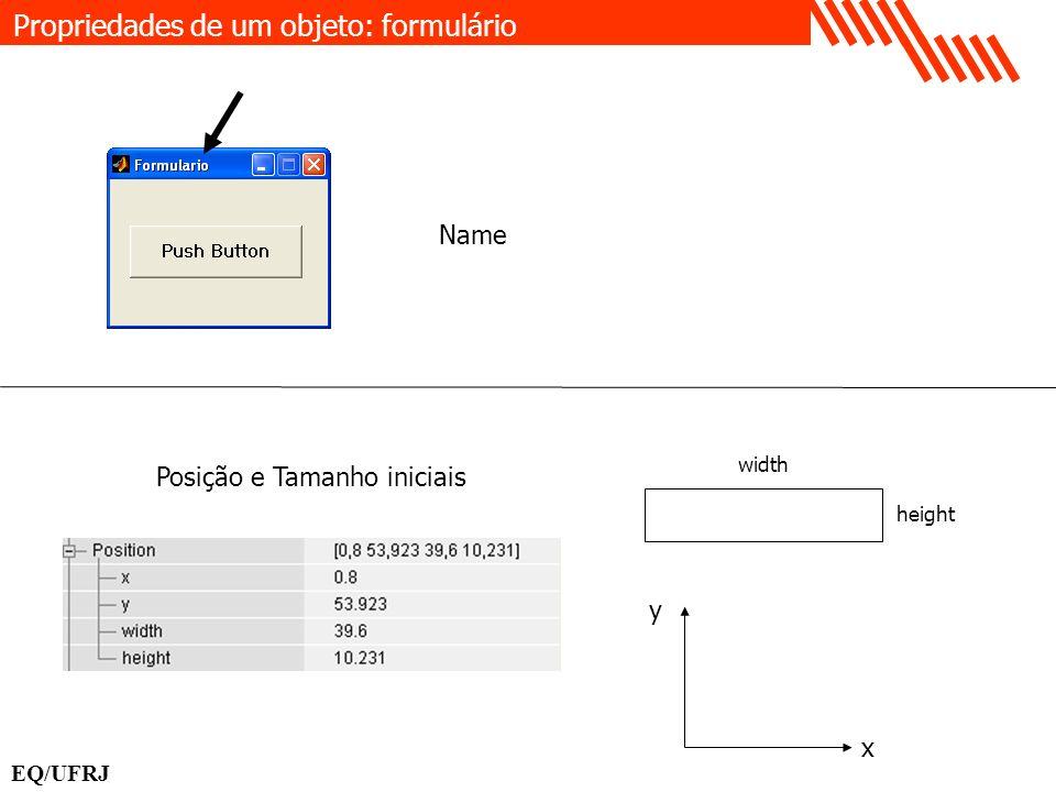 Propriedades de um objeto: formulário