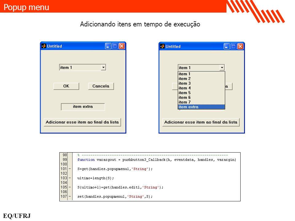Popup menu Adicionando itens em tempo de execução EQ/UFRJ