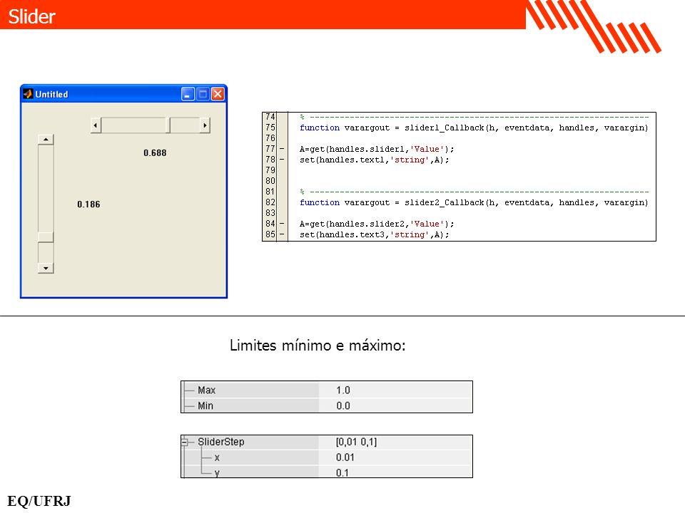 Slider Limites mínimo e máximo: EQ/UFRJ