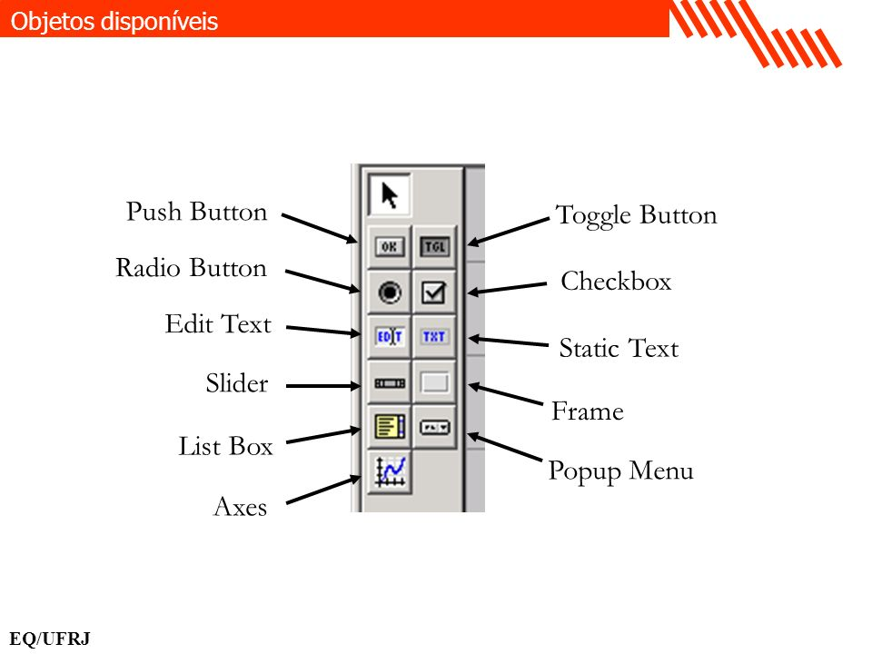 Push Button Toggle Button Radio Button Checkbox Edit Text Static Text