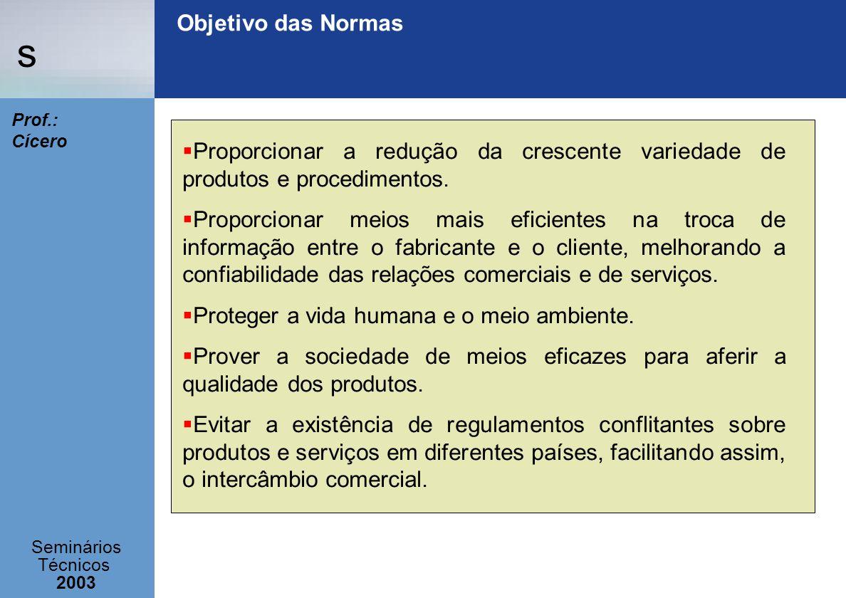 Objetivo das Normas Proporcionar a redução da crescente variedade de produtos e procedimentos.