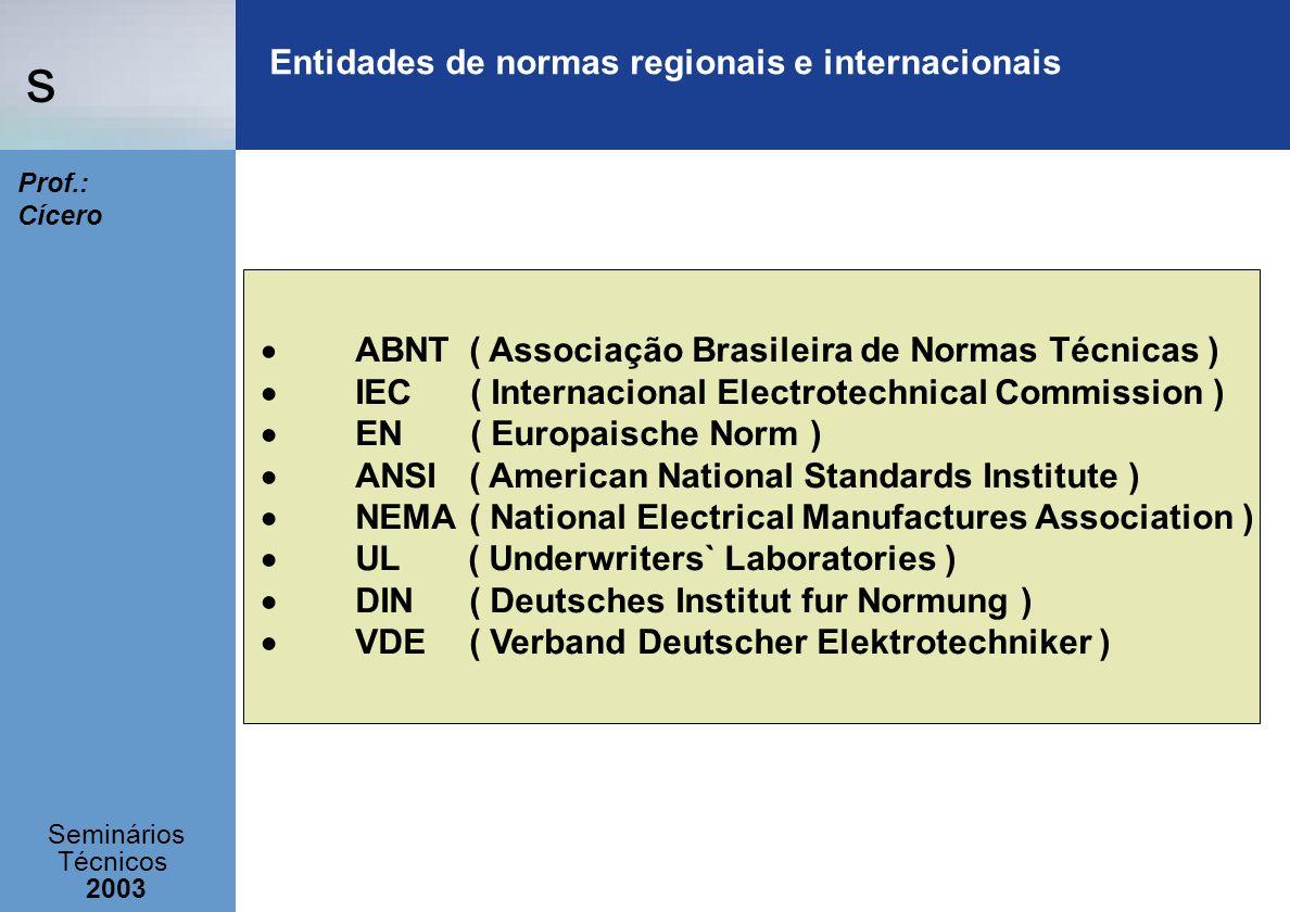Entidades de normas regionais e internacionais