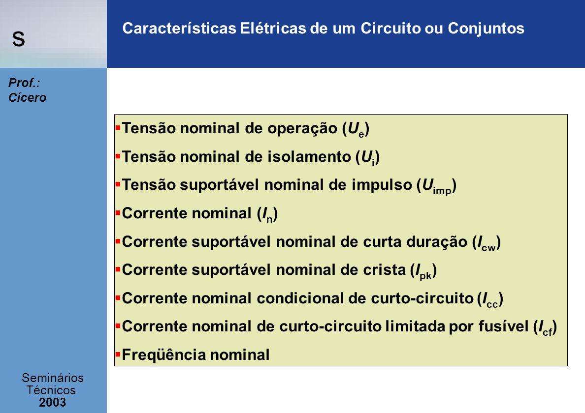 Características Elétricas de um Circuito ou Conjuntos