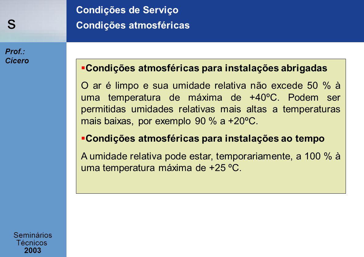 Condições de Serviço Condições atmosféricas