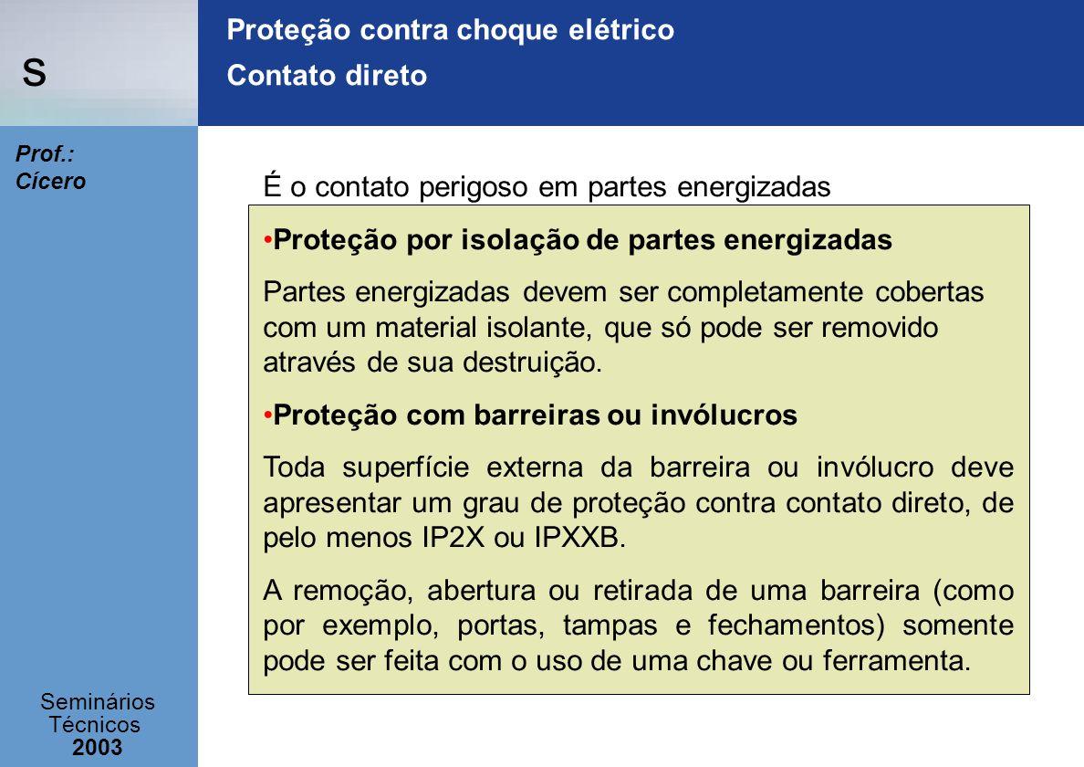 Proteção contra choque elétrico Contato direto