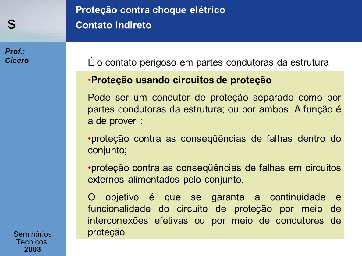 Proteção contra choque elétrico Contato indireto
