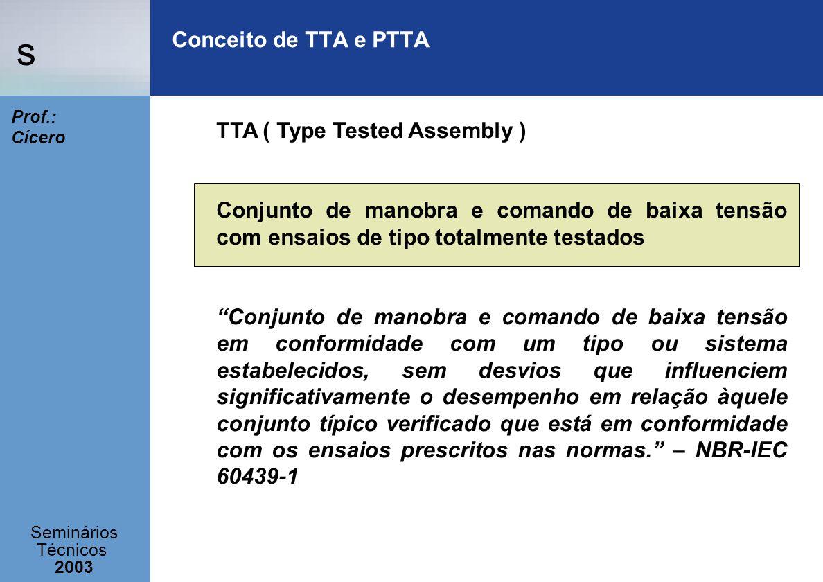 Conceito de TTA e PTTA TTA ( Type Tested Assembly ) Conjunto de manobra e comando de baixa tensão com ensaios de tipo totalmente testados.