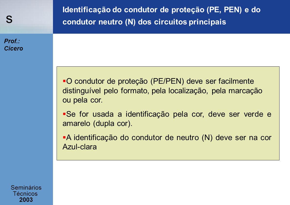 Identificação do condutor de proteção (PE, PEN) e do condutor neutro (N) dos circuitos principais