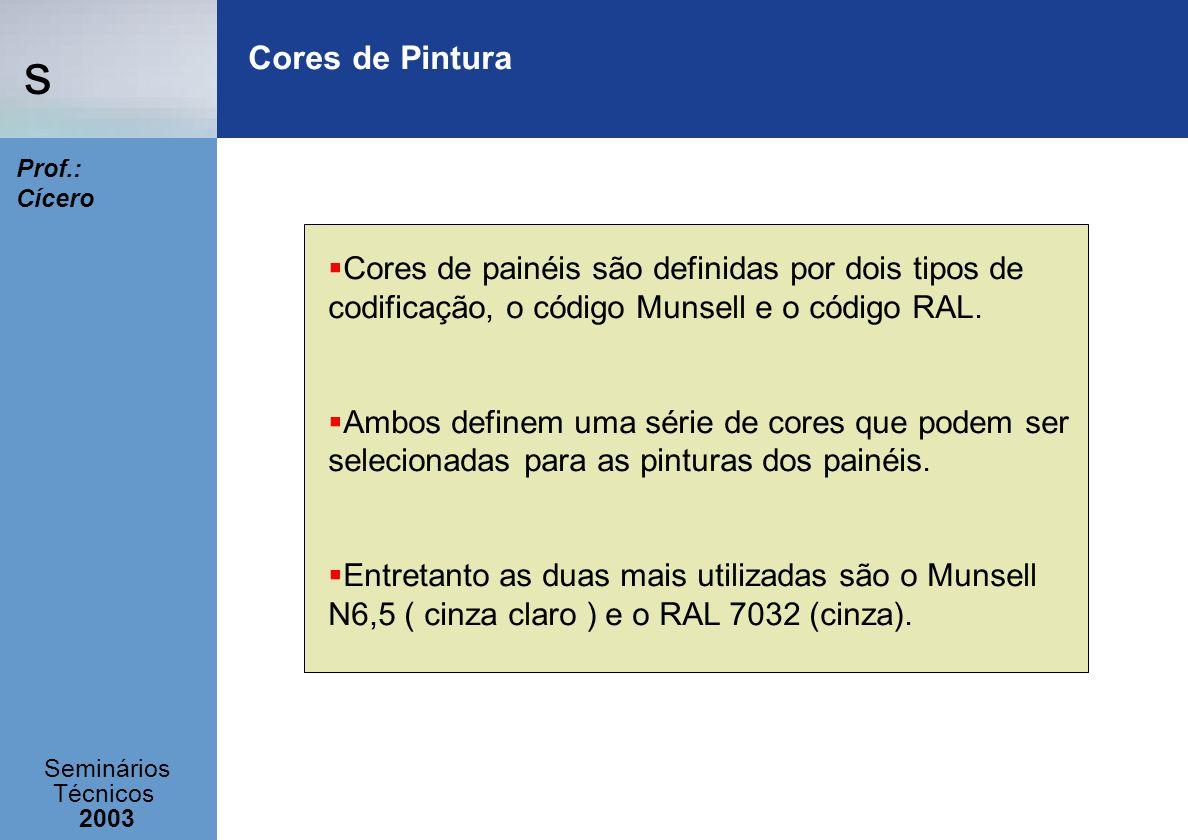 Cores de Pintura Cores de painéis são definidas por dois tipos de codificação, o código Munsell e o código RAL.