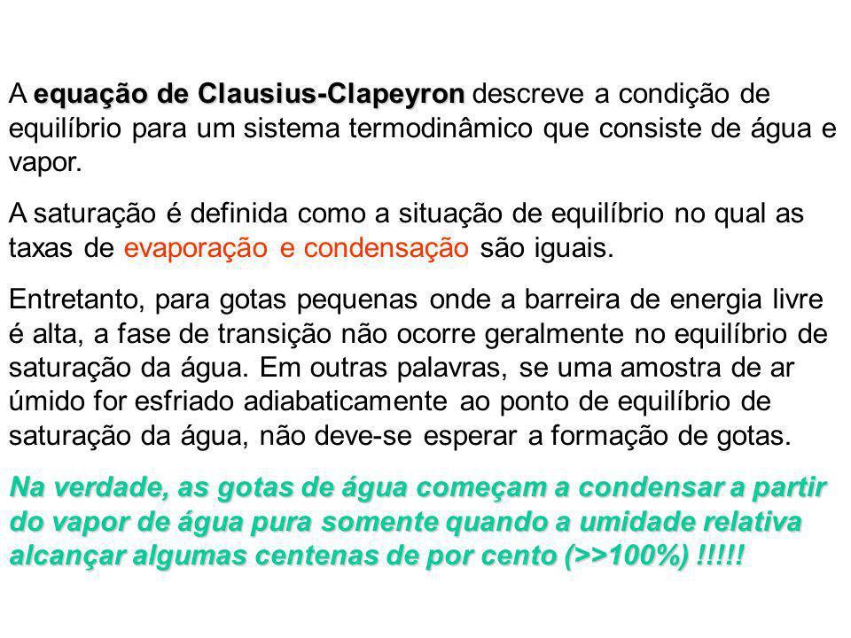 A equação de Clausius-Clapeyron descreve a condição de equilíbrio para um sistema termodinâmico que consiste de água e vapor.