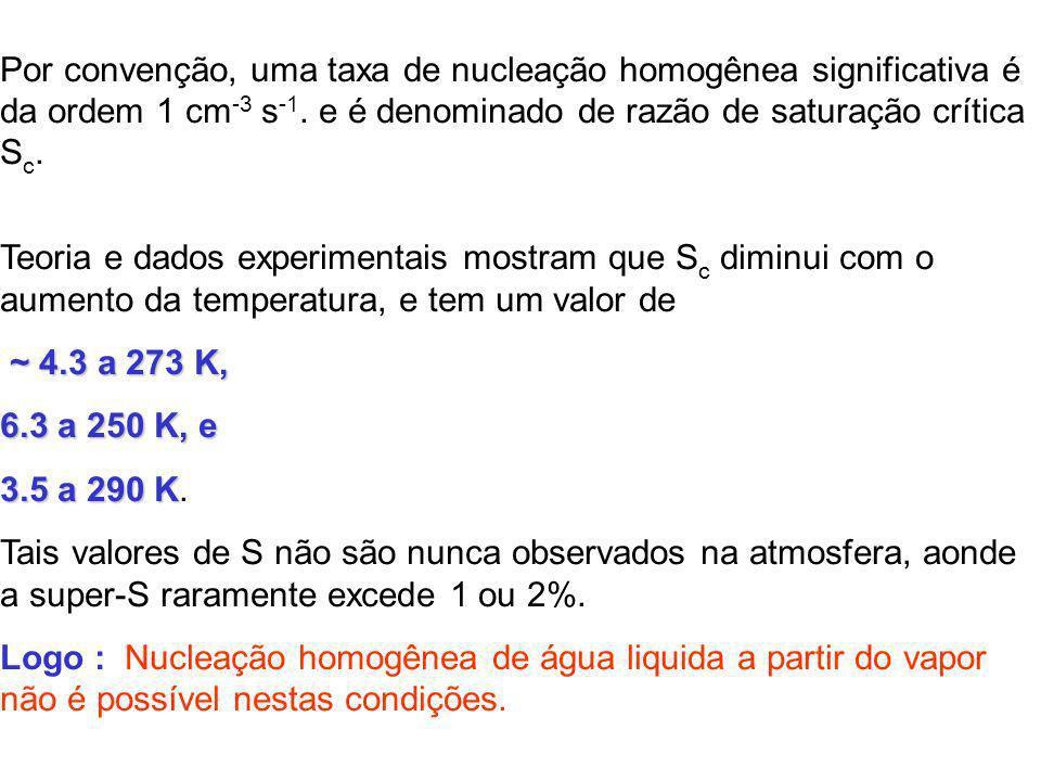 Por convenção, uma taxa de nucleação homogênea significativa é da ordem 1 cm-3 s-1. e é denominado de razão de saturação crítica Sc.