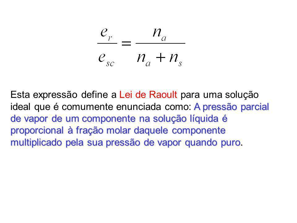 Esta expressão define a Lei de Raoult para uma solução ideal que é comumente enunciada como: A pressão parcial de vapor de um componente na solução líquida é proporcional à fração molar daquele componente multiplicado pela sua pressão de vapor quando puro.