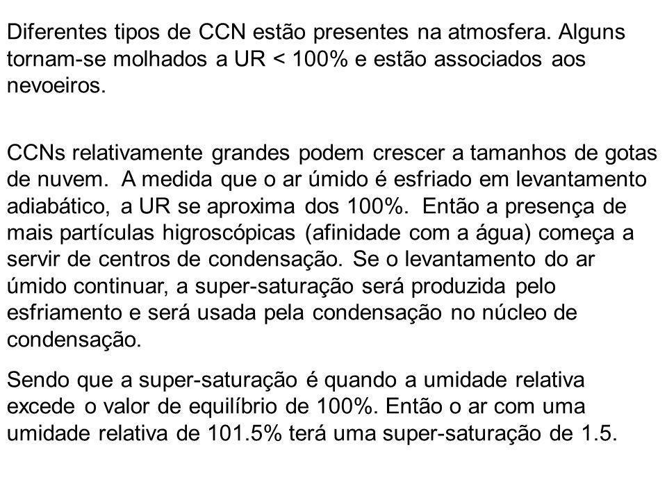 Diferentes tipos de CCN estão presentes na atmosfera