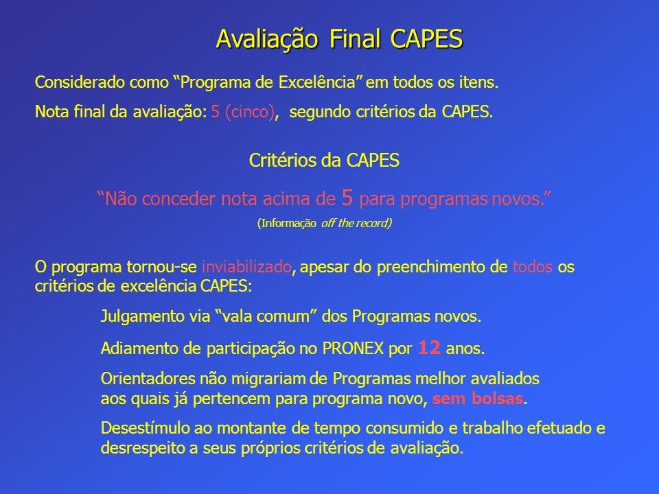 Avaliação Final CAPES Critérios da CAPES