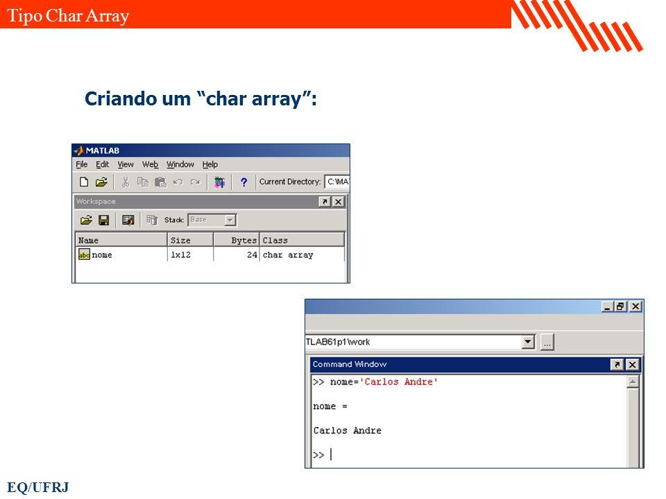 Tipo Char Array Criando um char array :