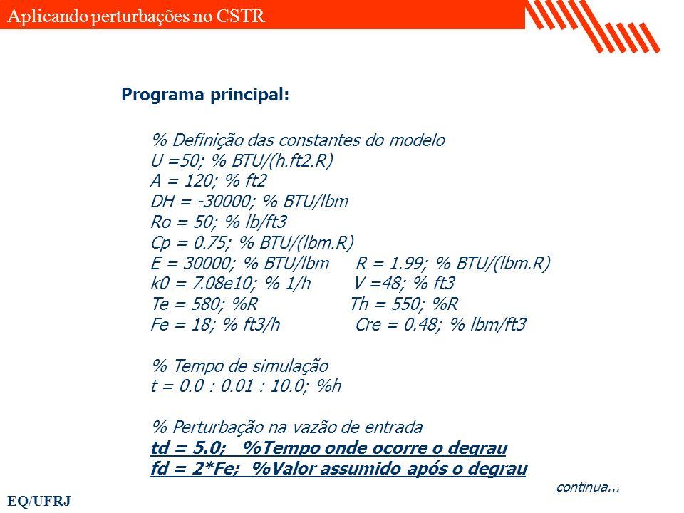 Aplicando perturbações no CSTR