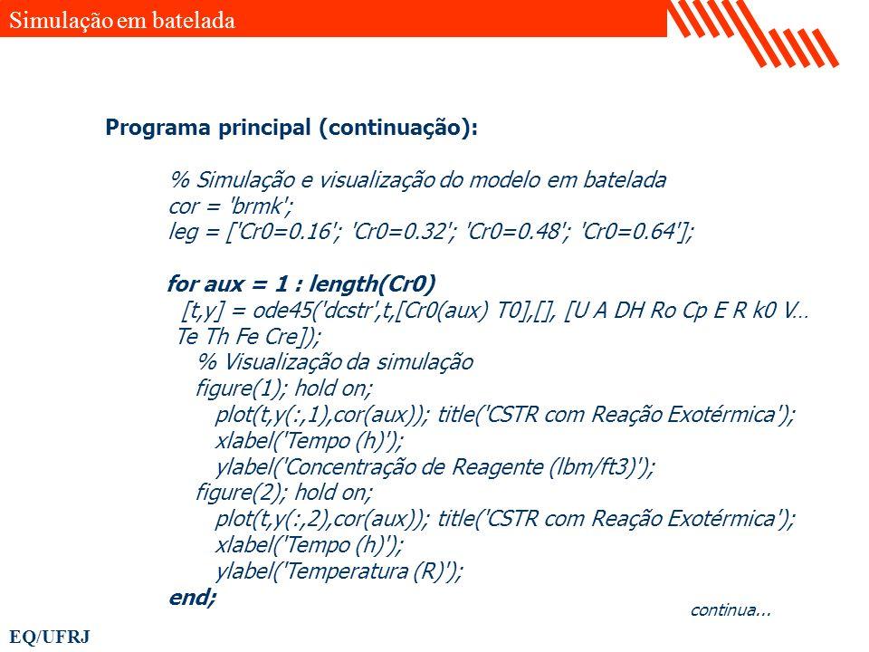 Simulação em batelada Programa principal (continuação):