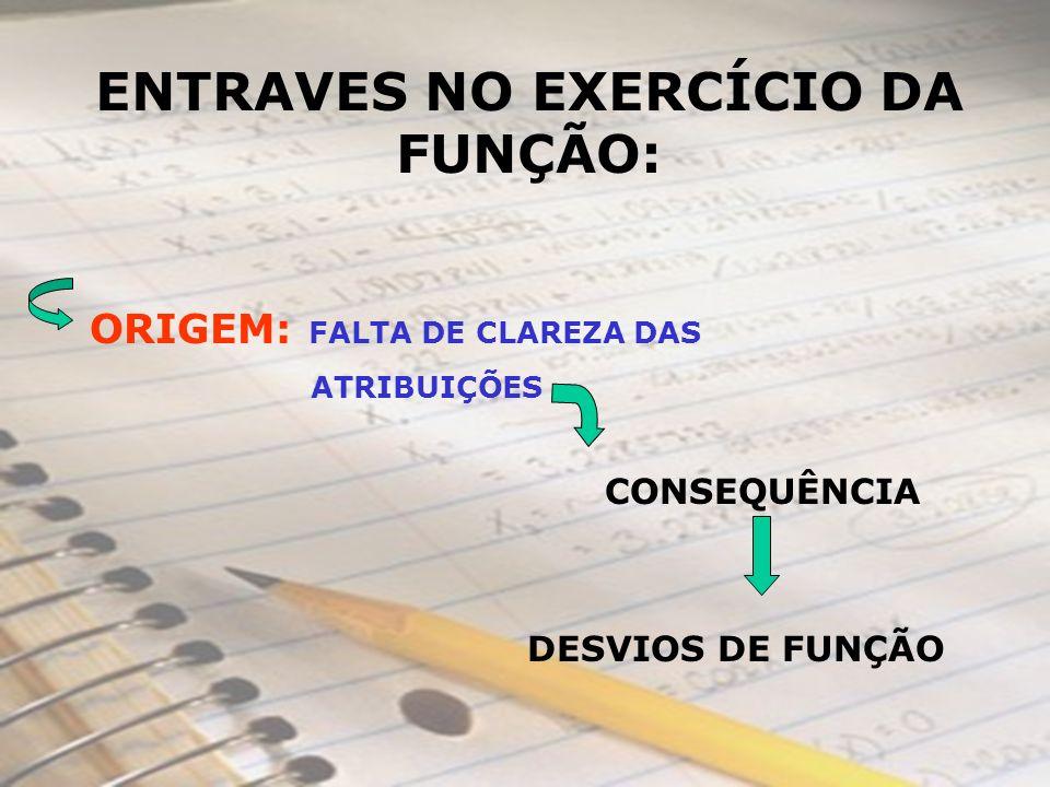 ENTRAVES NO EXERCÍCIO DA FUNÇÃO: