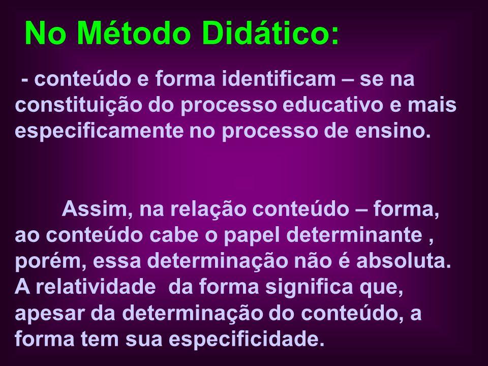 No Método Didático: - conteúdo e forma identificam – se na constituição do processo educativo e mais especificamente no processo de ensino.