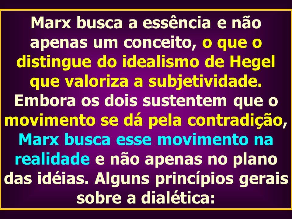 Marx busca a essência e não apenas um conceito, o que o distingue do idealismo de Hegel que valoriza a subjetividade.