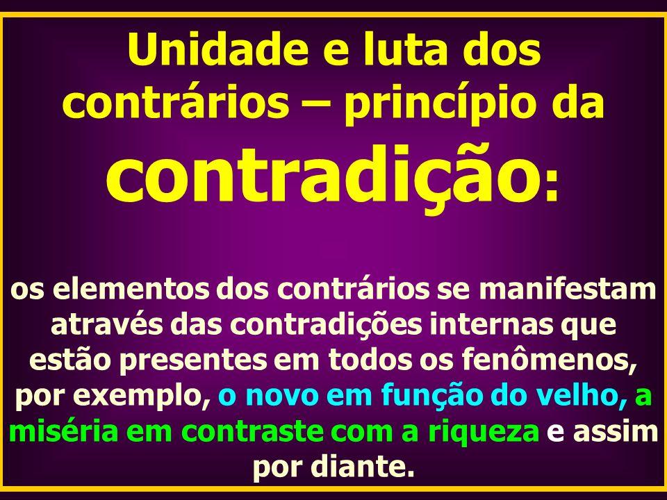Unidade e luta dos contrários – princípio da contradição:
