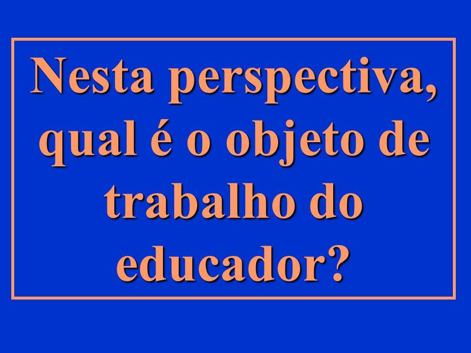 Nesta perspectiva, qual é o objeto de trabalho do educador