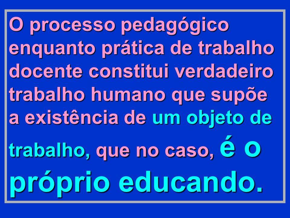O processo pedagógico enquanto prática de trabalho docente constitui verdadeiro trabalho humano que supõe a existência de um objeto de trabalho, que no caso, é o próprio educando.