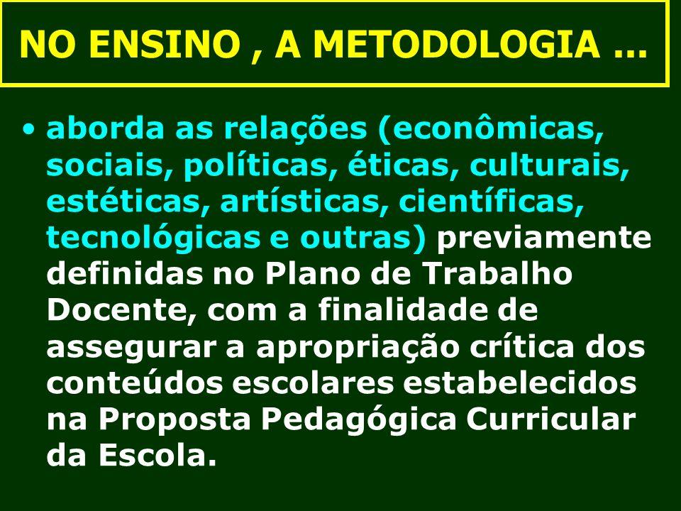 NO ENSINO , A METODOLOGIA ...