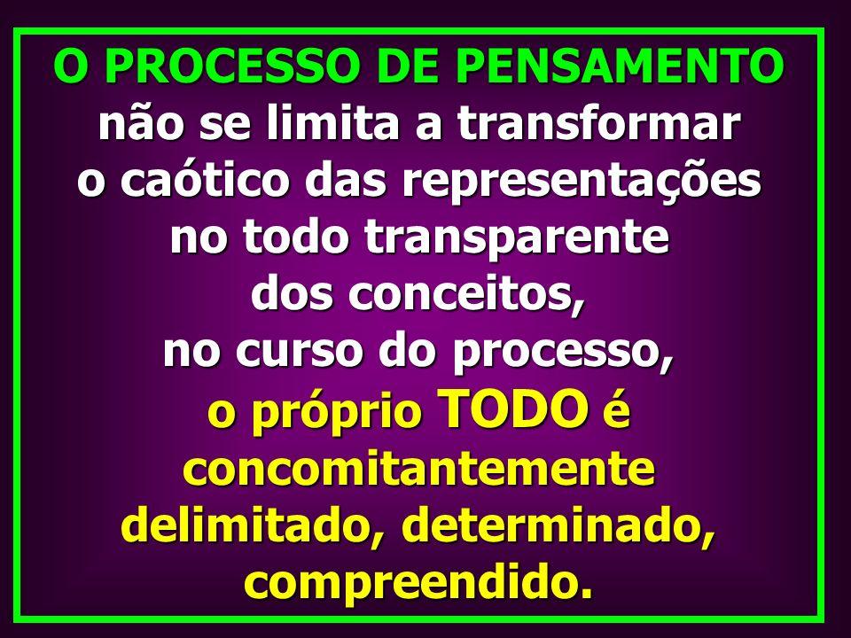 O PROCESSO DE PENSAMENTO não se limita a transformar