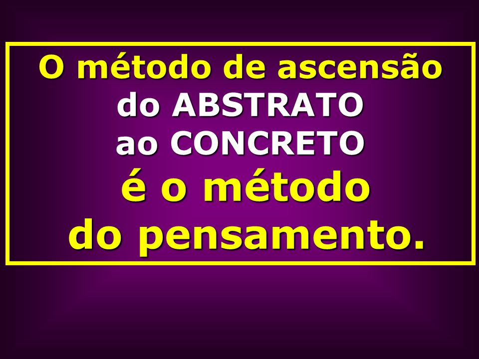 O método de ascensão do ABSTRATO ao CONCRETO é o método do pensamento.