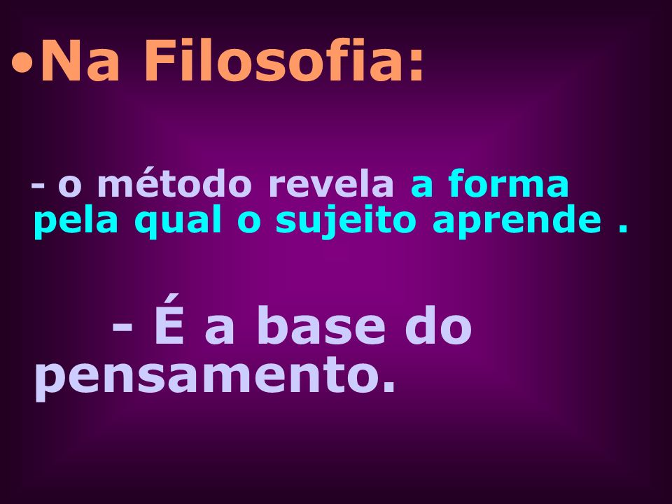 Na Filosofia: - É a base do pensamento.