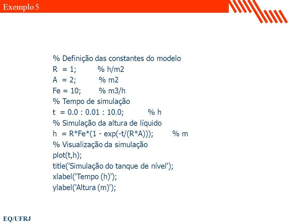 Exemplo 5 % Definição das constantes do modelo R = 1; % h/m2