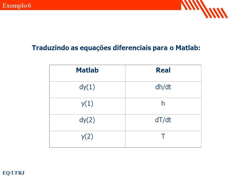 Exemplo 6 Traduzindo as equações diferenciais para o Matlab: Matlab. Real. dy(1) dh/dt. y(1) h.