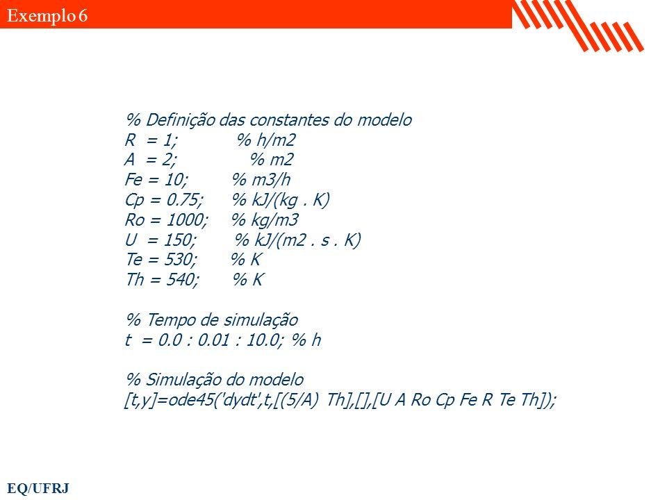 Exemplo 6 % Definição das constantes do modelo R = 1; % h/m2