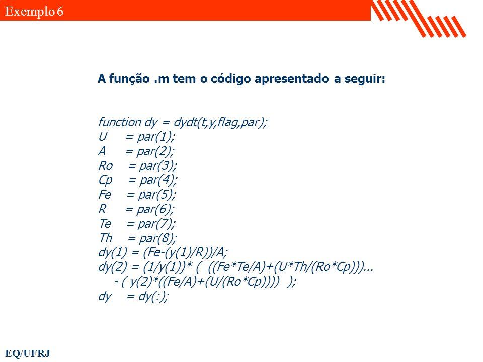 Exemplo 6 A função .m tem o código apresentado a seguir: