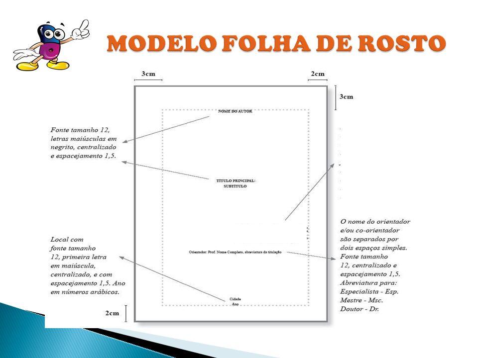 MODELO FOLHA DE ROSTO