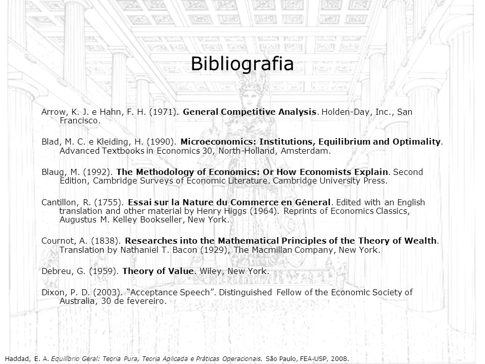 Bibliografia Arrow, K. J. e Hahn, F. H. (1971). General Competitive Analysis. Holden-Day, Inc., San Francisco.
