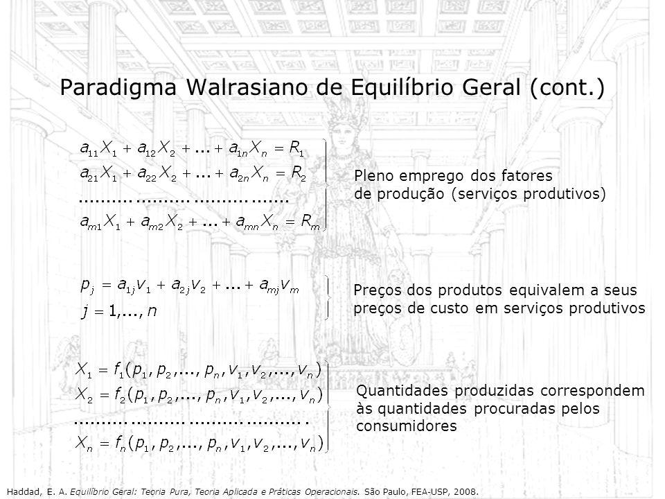 Paradigma Walrasiano de Equilíbrio Geral (cont.)