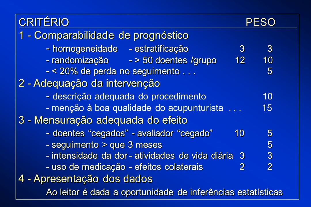 1 - Comparabilidade de prognóstico