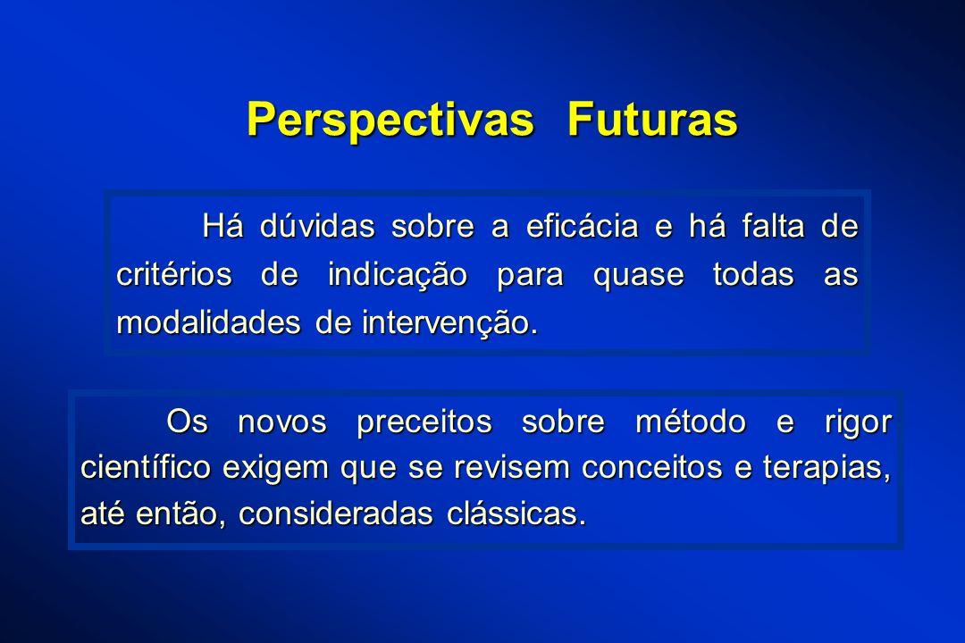 Perspectivas Futuras Há dúvidas sobre a eficácia e há falta de critérios de indicação para quase todas as modalidades de intervenção.