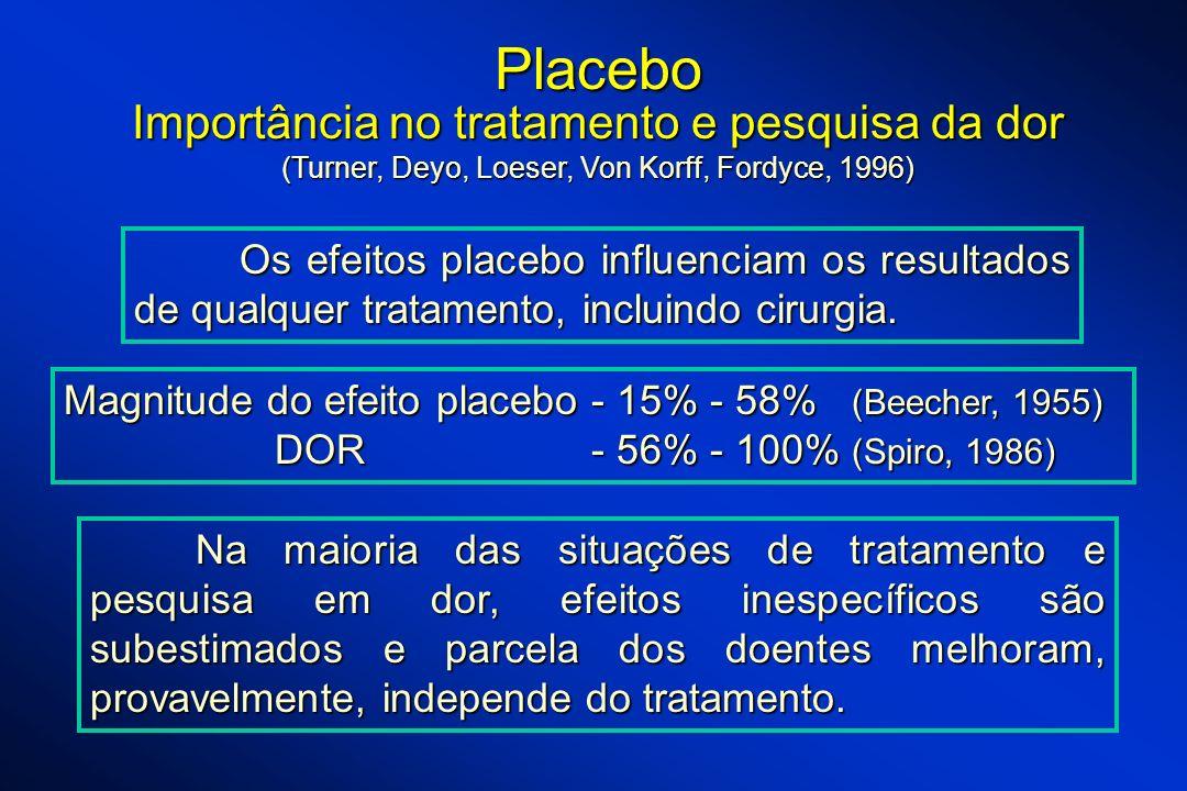 Placebo Importância no tratamento e pesquisa da dor