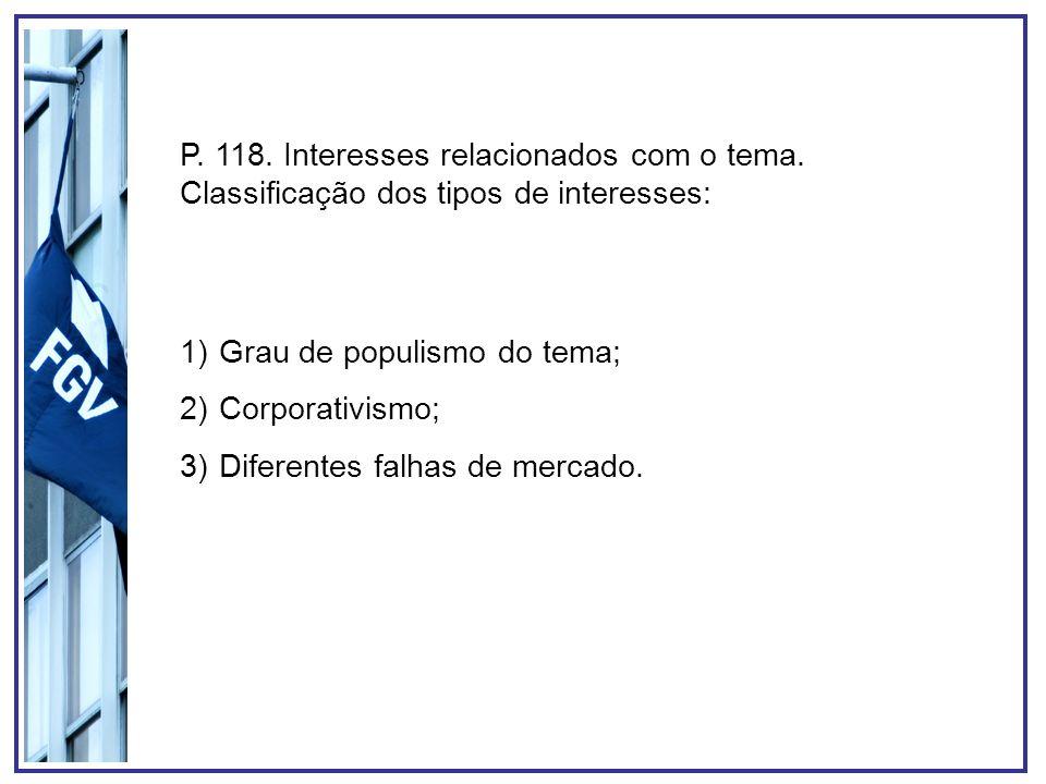 P. 118. Interesses relacionados com o tema