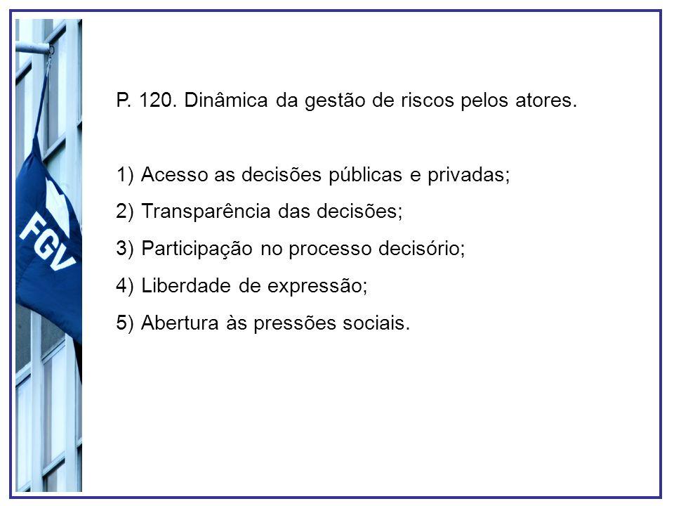 P. 120. Dinâmica da gestão de riscos pelos atores.