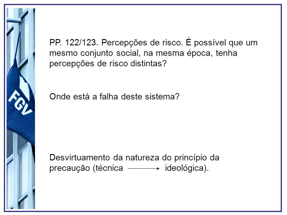 PP. 122/123. Percepções de risco