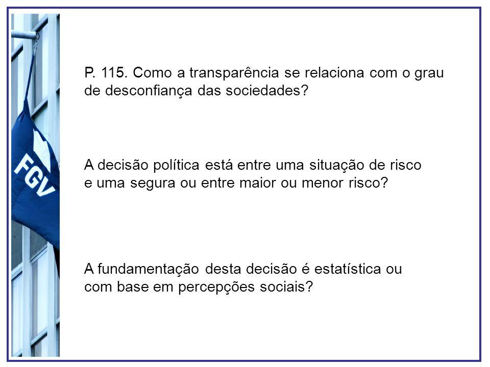 P. 115. Como a transparência se relaciona com o grau de desconfiança das sociedades