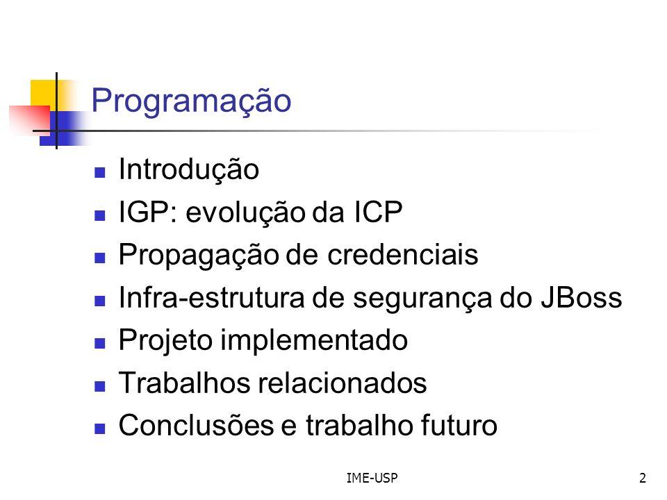 Programação Introdução IGP: evolução da ICP Propagação de credenciais