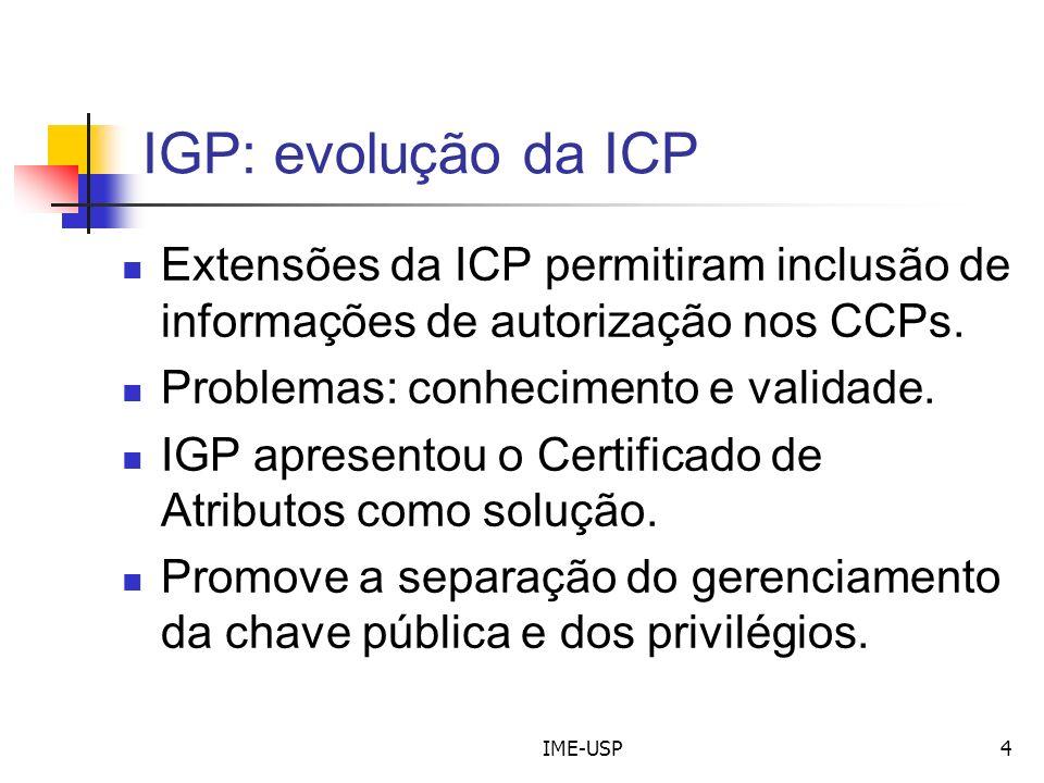 IGP: evolução da ICP Extensões da ICP permitiram inclusão de informações de autorização nos CCPs. Problemas: conhecimento e validade.